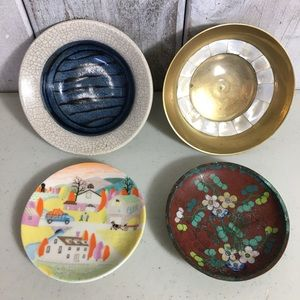 Lot of 4 Small Dishes Handmade Brass Painted